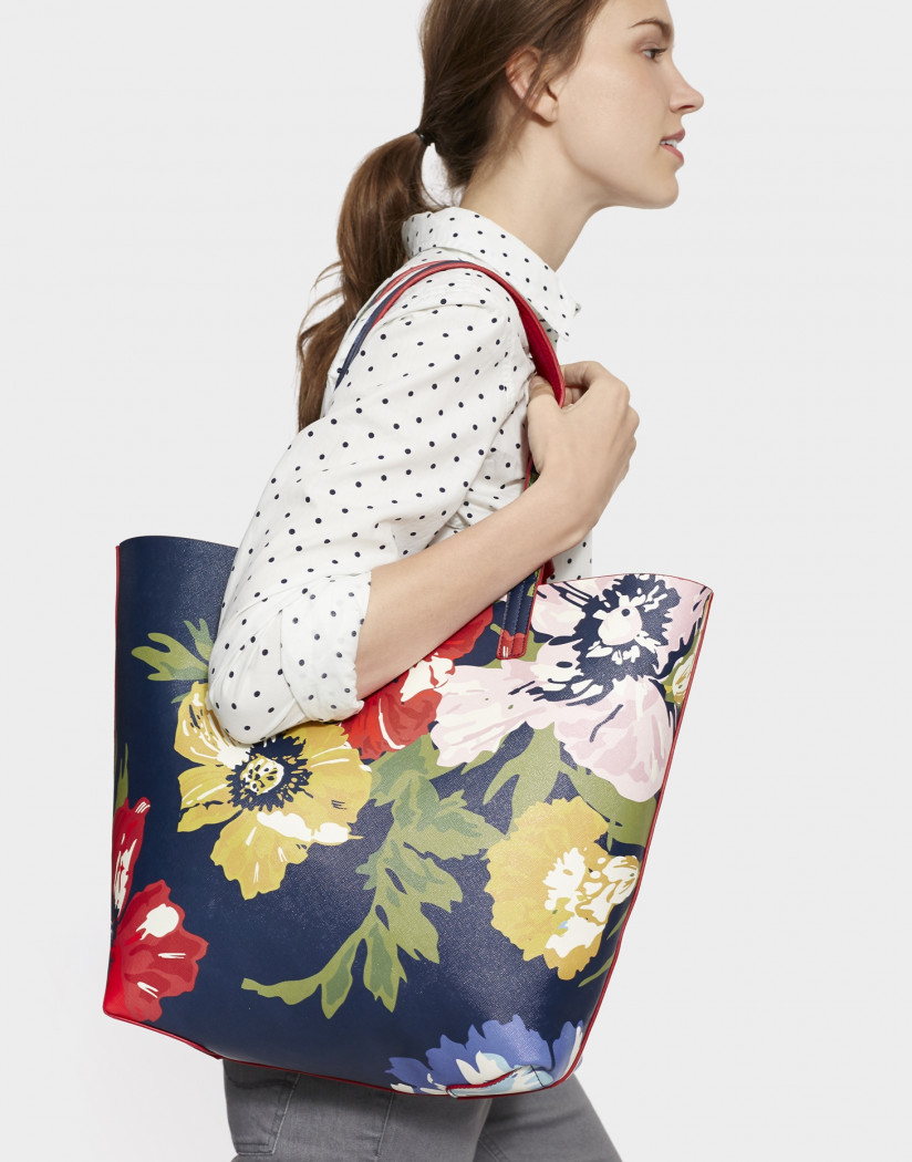 Joules Revery Print Shopper Bag: French Navy Posy
